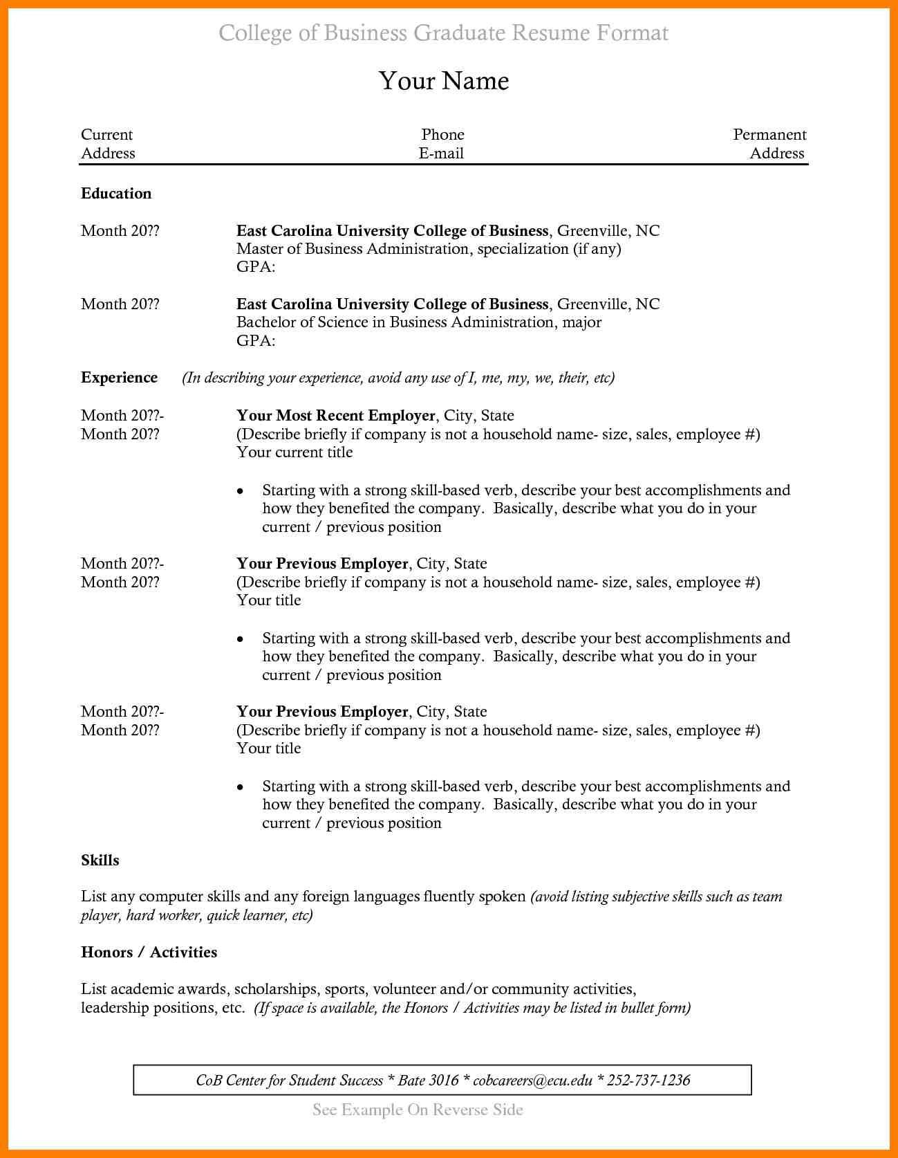 Resume Format Recent College Graduate
