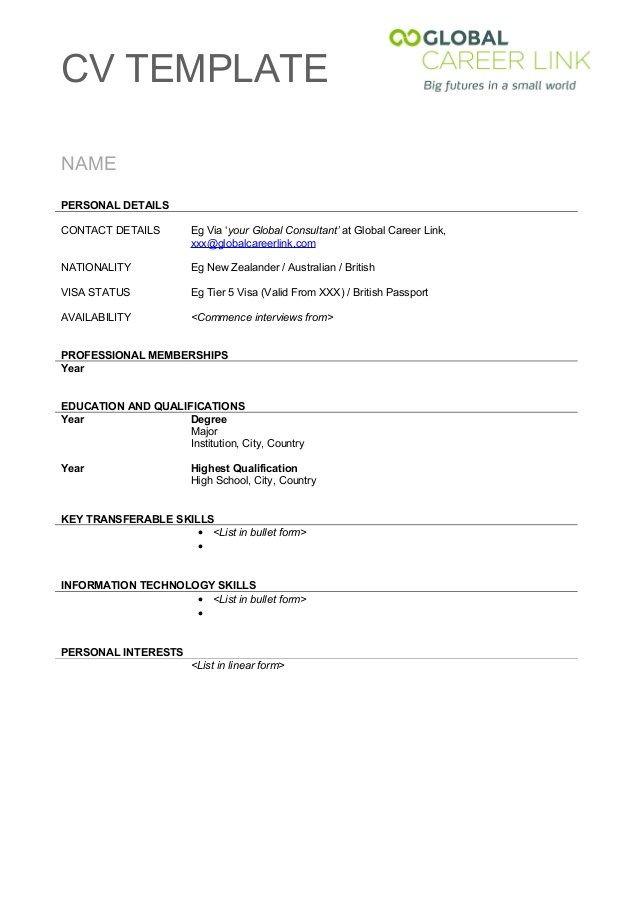 Cv Template New Zealand  Resume