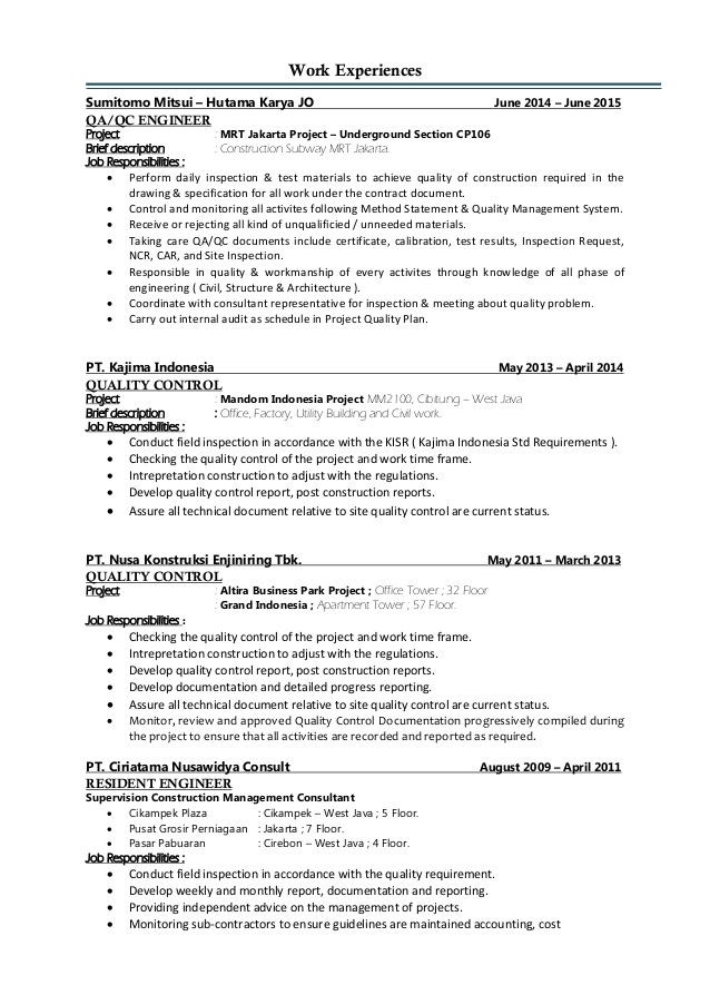 Resume Format Quality Control Engineer