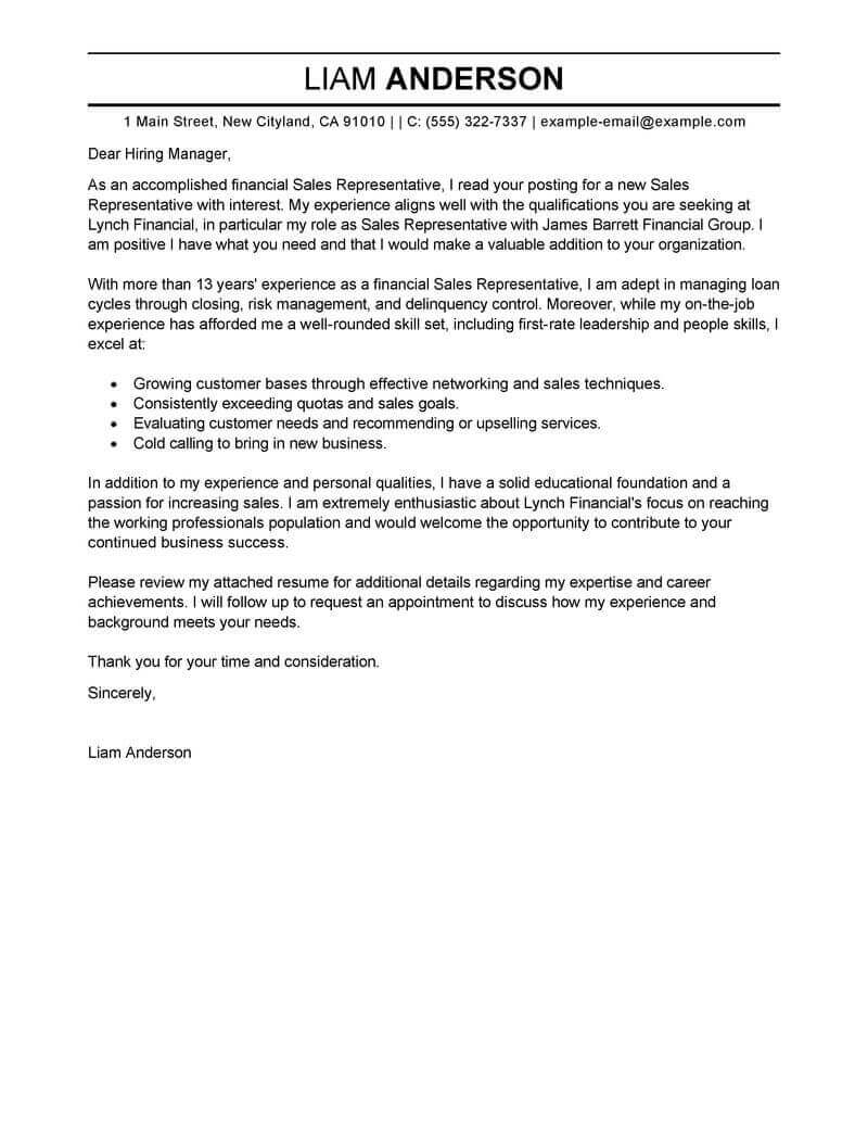 Cover Letter Template Sales
