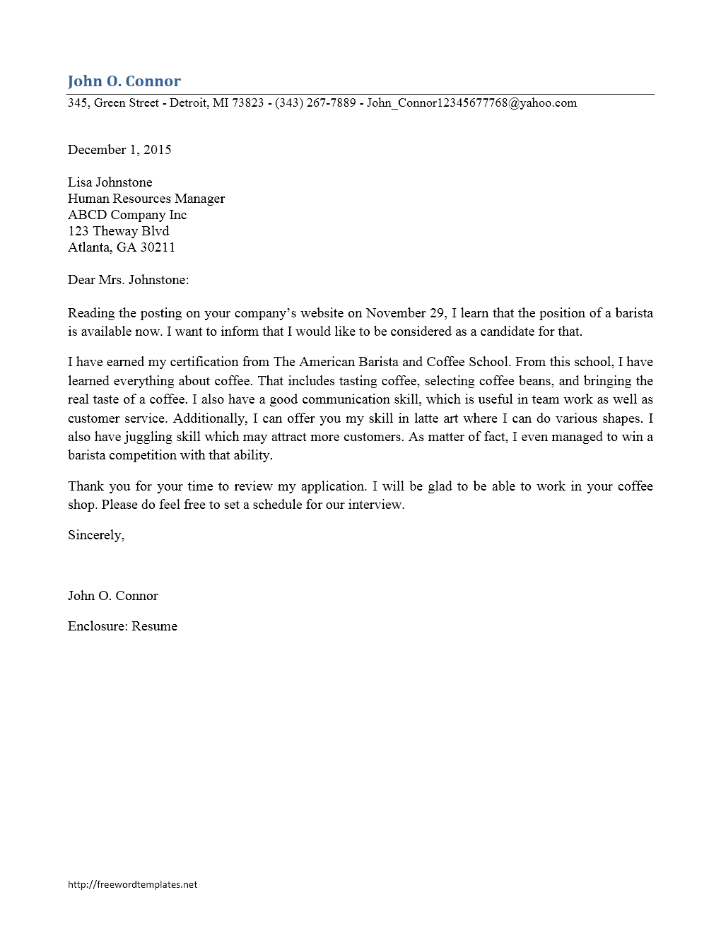Cover Letter Template Barista