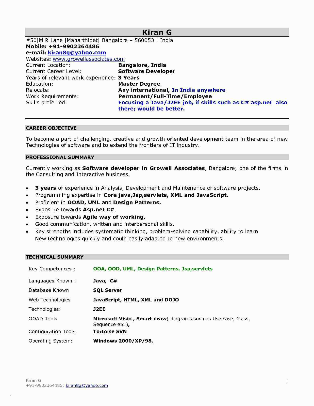 Resume Format For 1 Year Experienced Java Developer