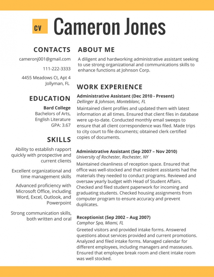 Resume Format Template 2017