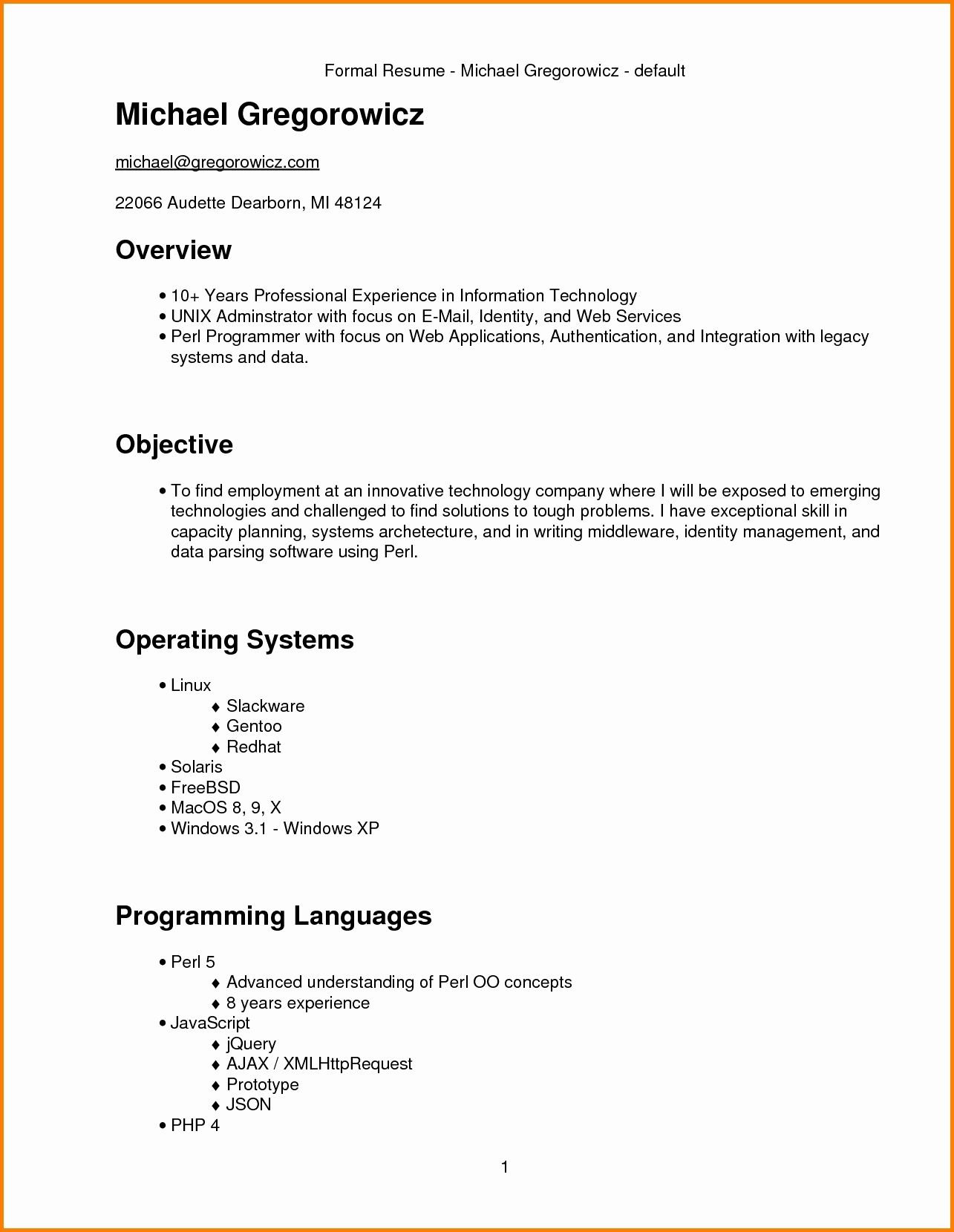 Resume Format 3 Years Experience Marketing
