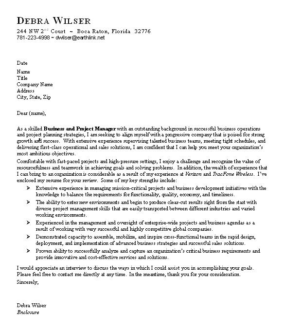 Cover Letter Template Business