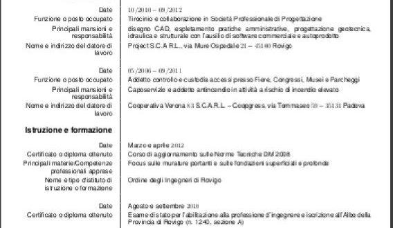 cv template italiano