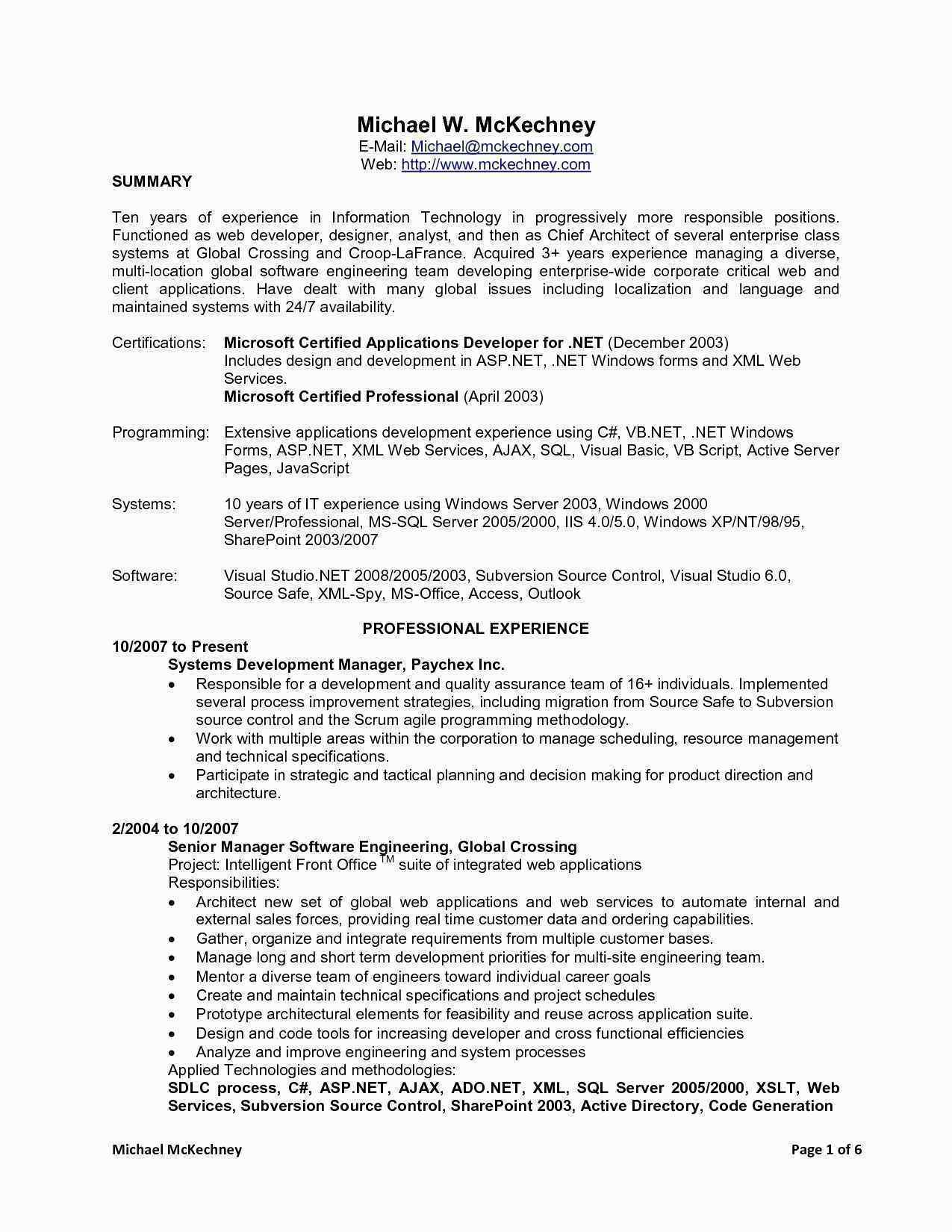 4 Years Experience Resume Format