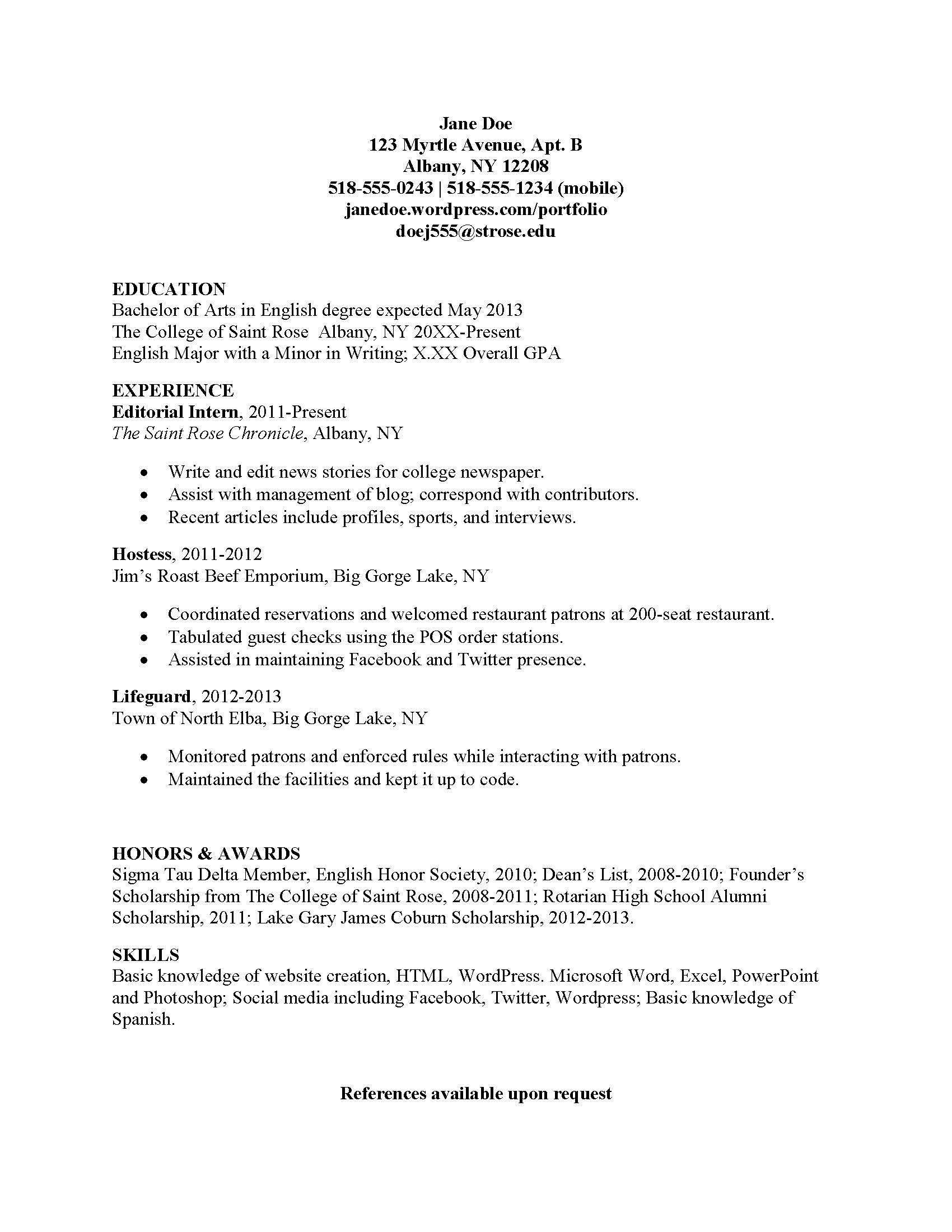 Resume Format Mla