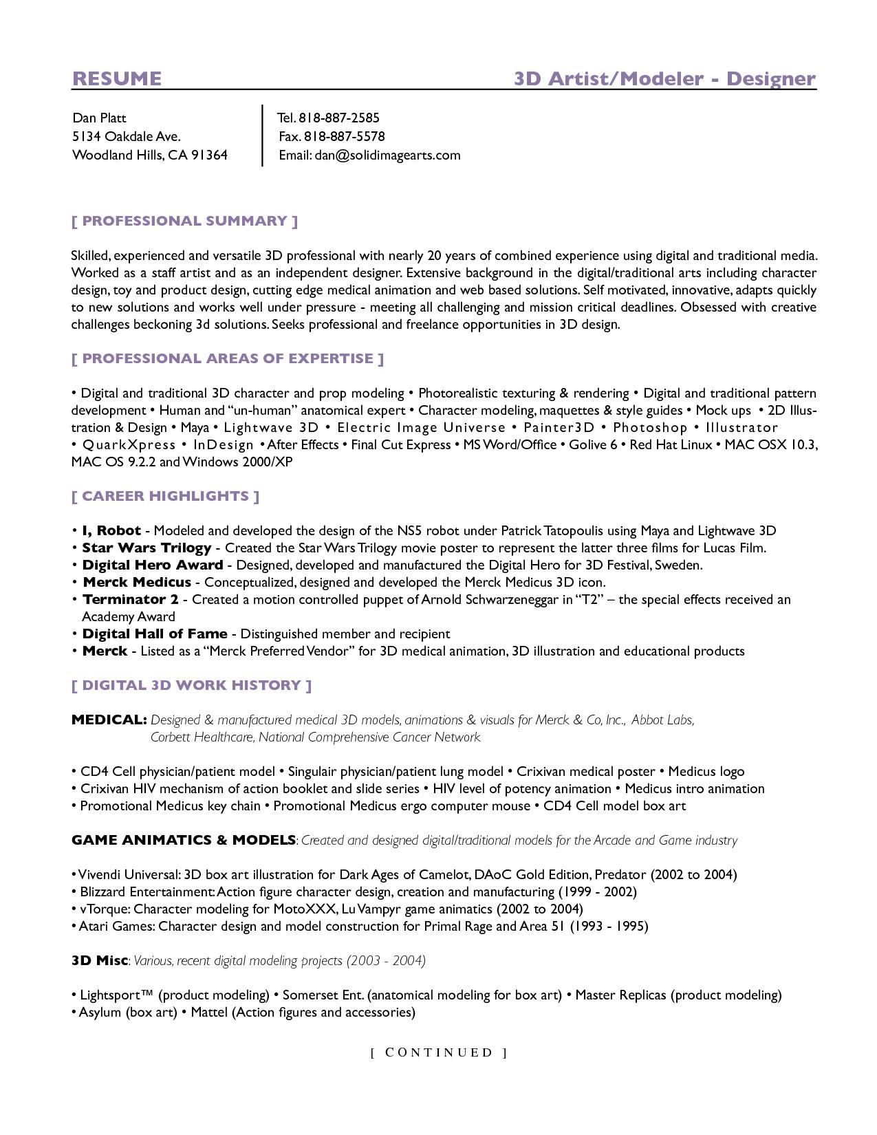 Resume Format 3D Artist