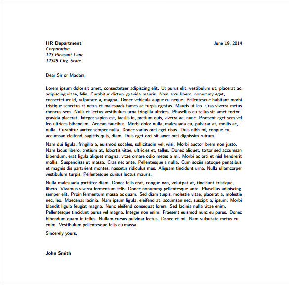 cover letter template overleaf