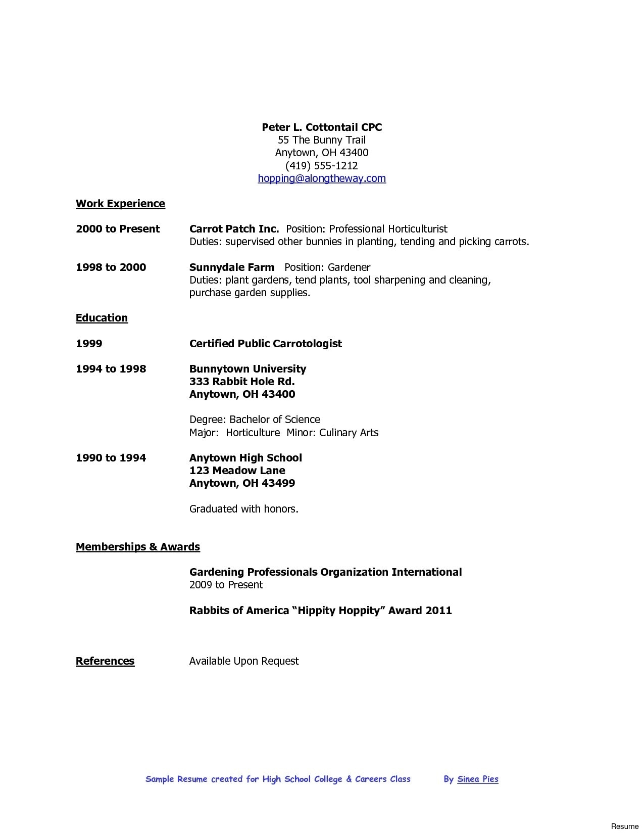 Resume Format High School Graduate