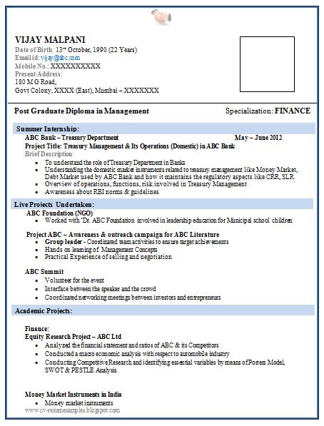 B E Resume Format For Freshers
