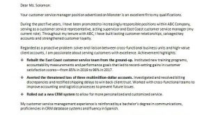 Cover Letter Template Customer Service