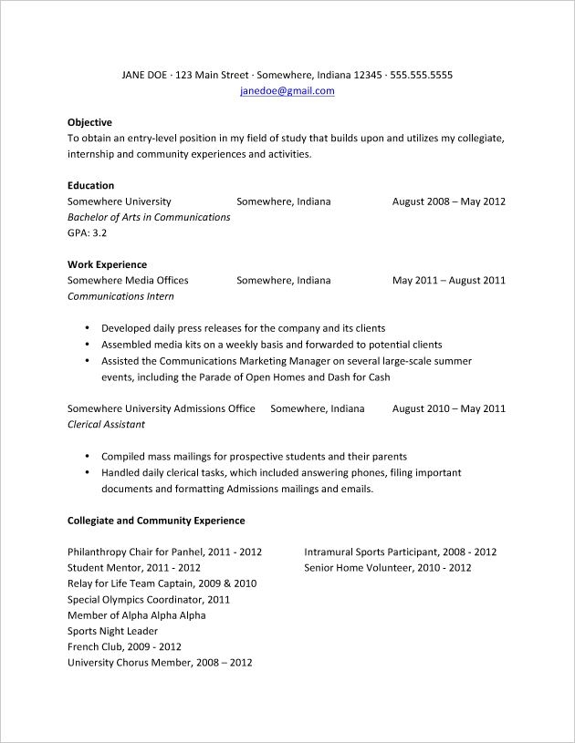 A Resume Format For Students