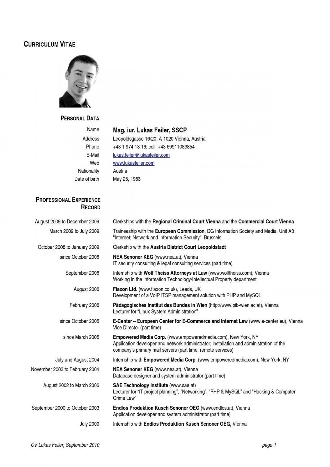 U S Resume Format Professional