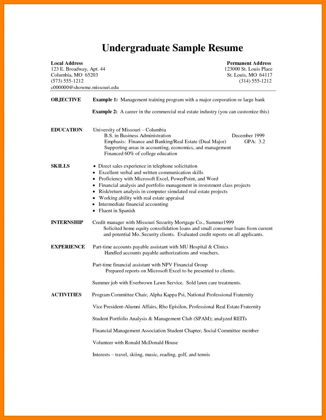 Cv Template Undergraduate