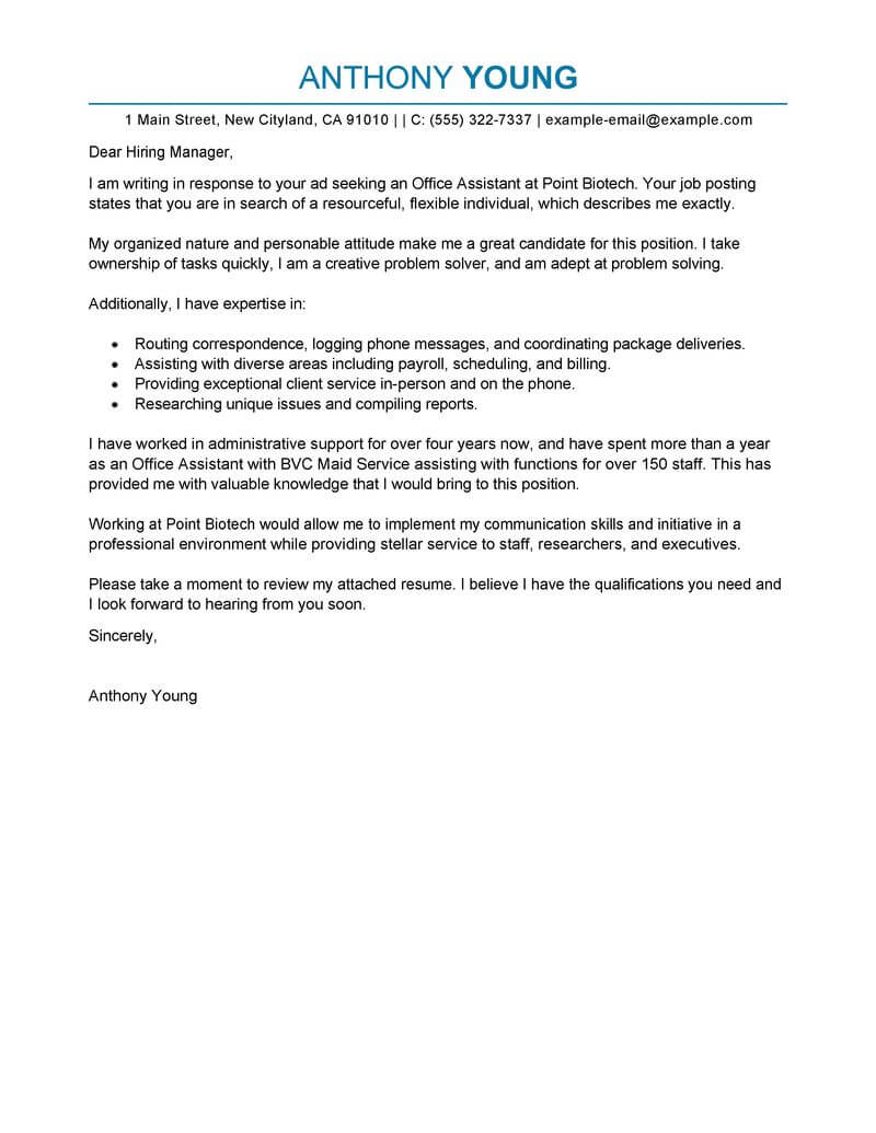 Cover Letter Template Office