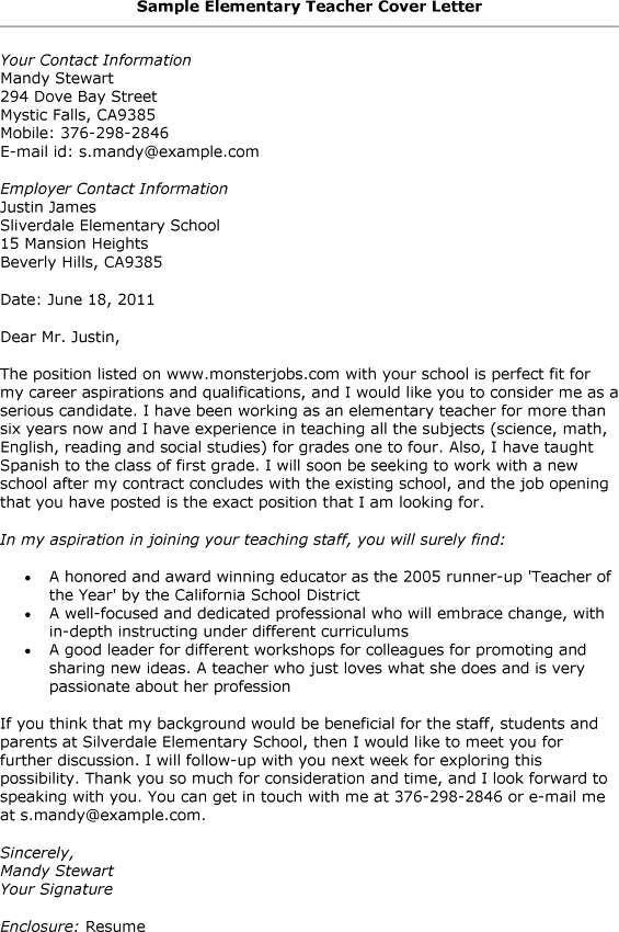 Cover Letter Template Elementary Teacher