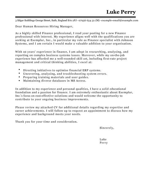 Cover Letter Template Finance