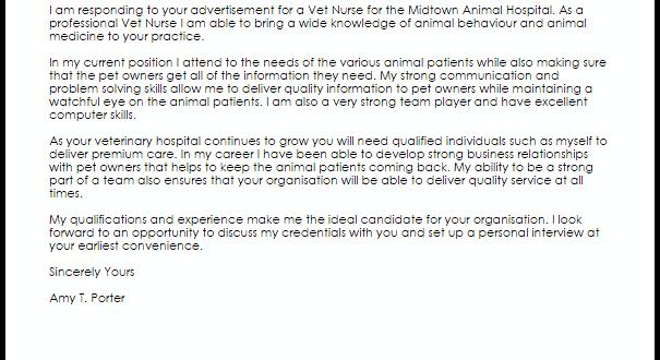 Cover Letter Template Vet Nurse - Resume Format
