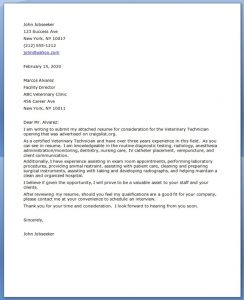 Cover Letter Template Veterinary Technician