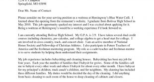 Cover Letter Template For High School Students