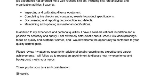 Cover Letter Template Quality Assurance