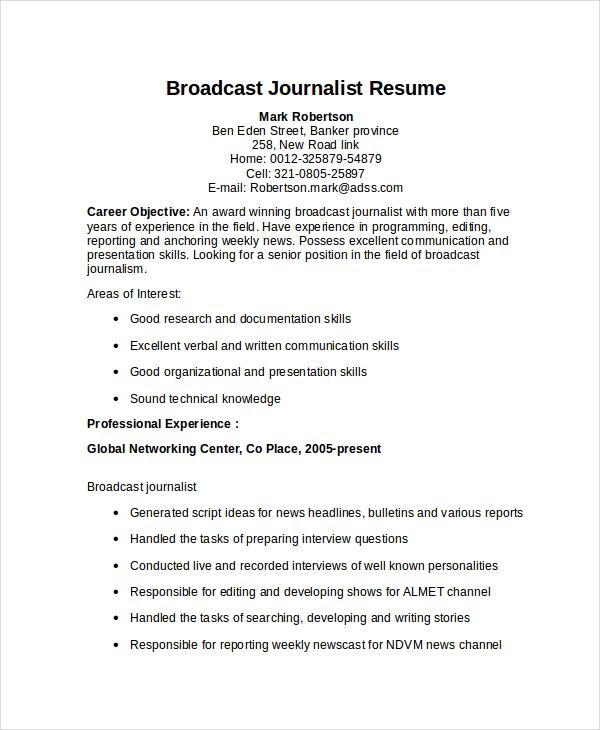 Cv Template Journalist