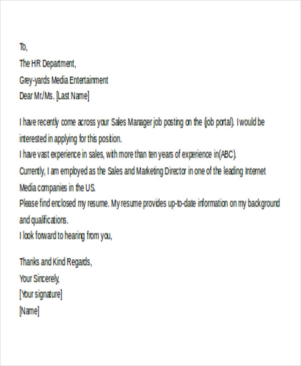 Cover Letter Template Via Email
