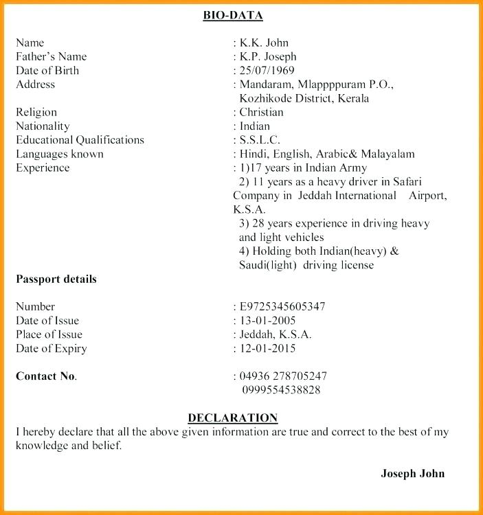 Resume Format Kerala