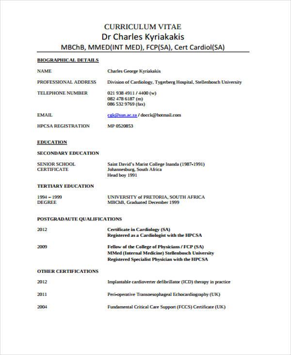 Cv Template Medical Doctor