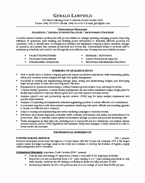 Resume Format For 5 Years Experience In Operations