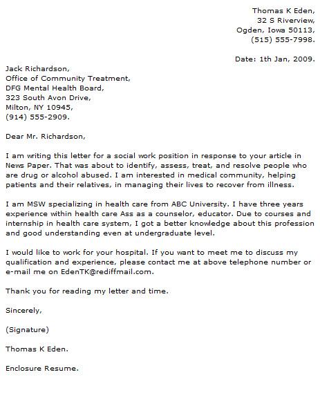 Cover Letter Template Social Work