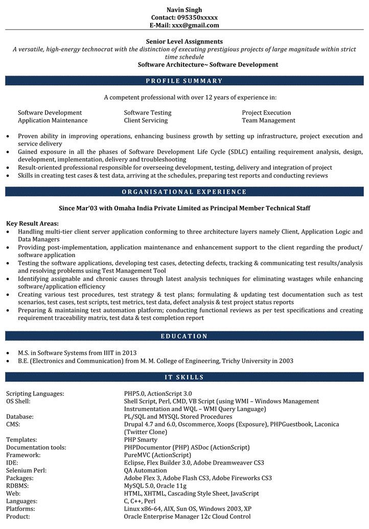 7 Years Experience Resume Format