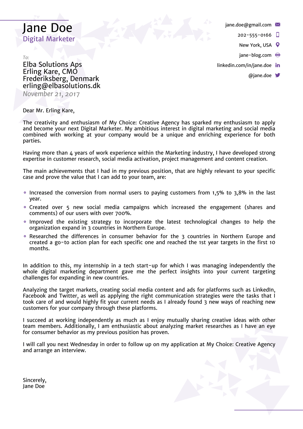 A Cover Letter Template Sample