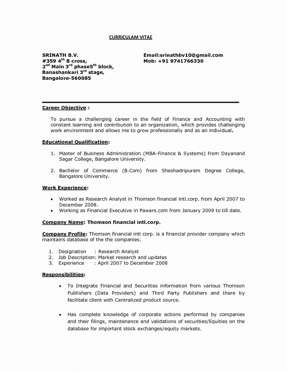 Resume Format Objective