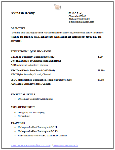 B E Ece Resume Format