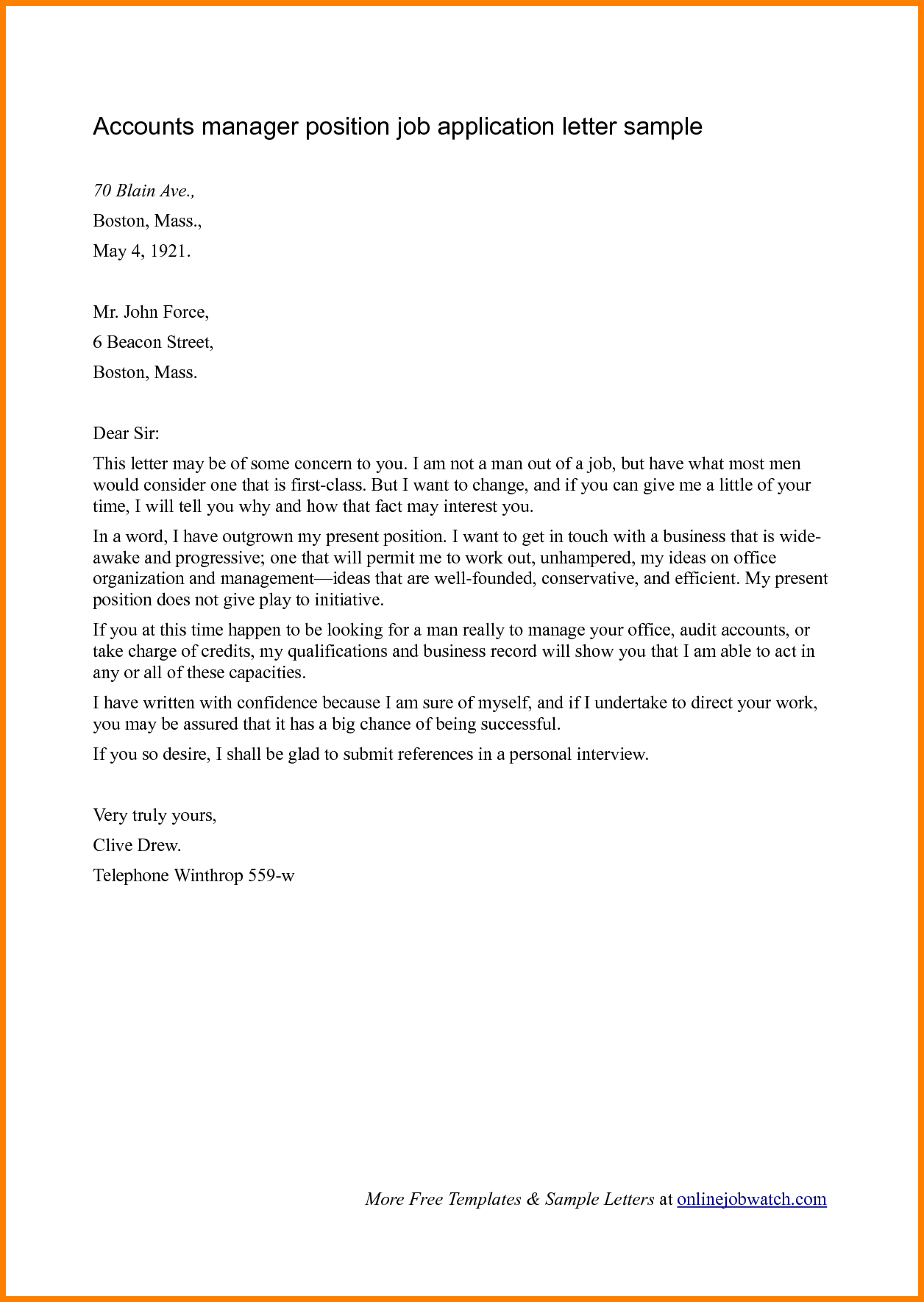 Cover Letter Template Ngo