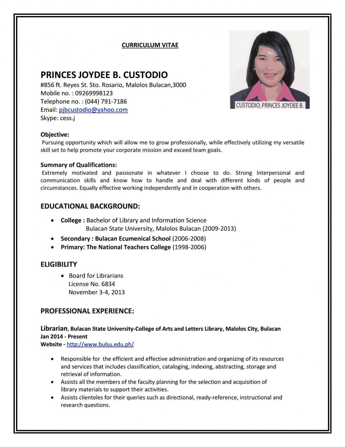 Resume Format Job