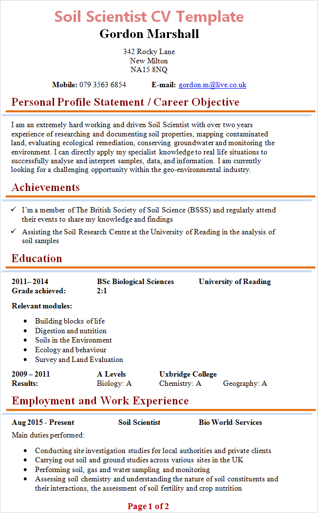 cv template scientist
