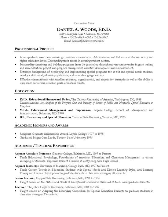 Cv Template Academic