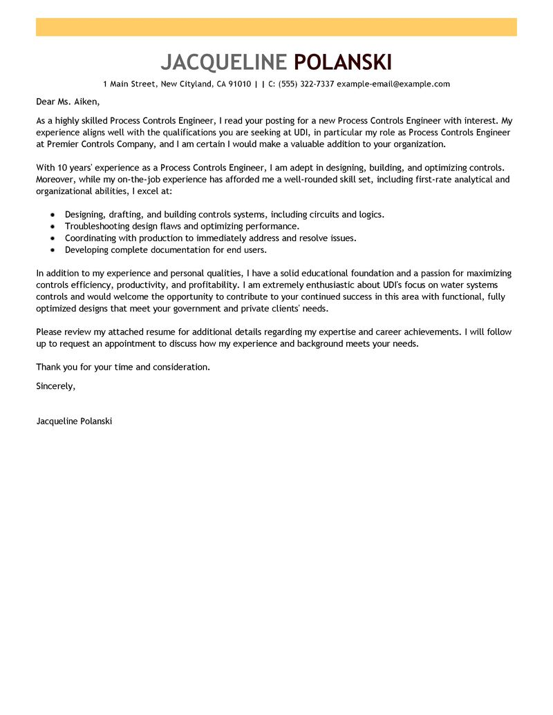 Cover Letter Template Engineering