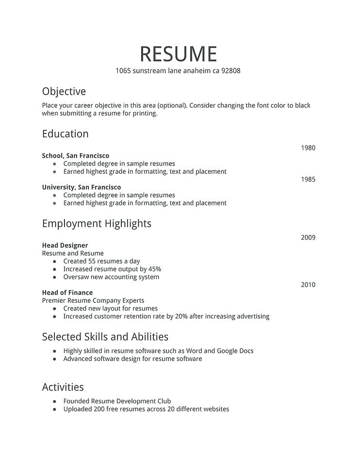 Resume Format Examples For Job