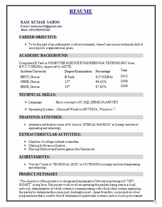 B Tech Resume Format For Fresher