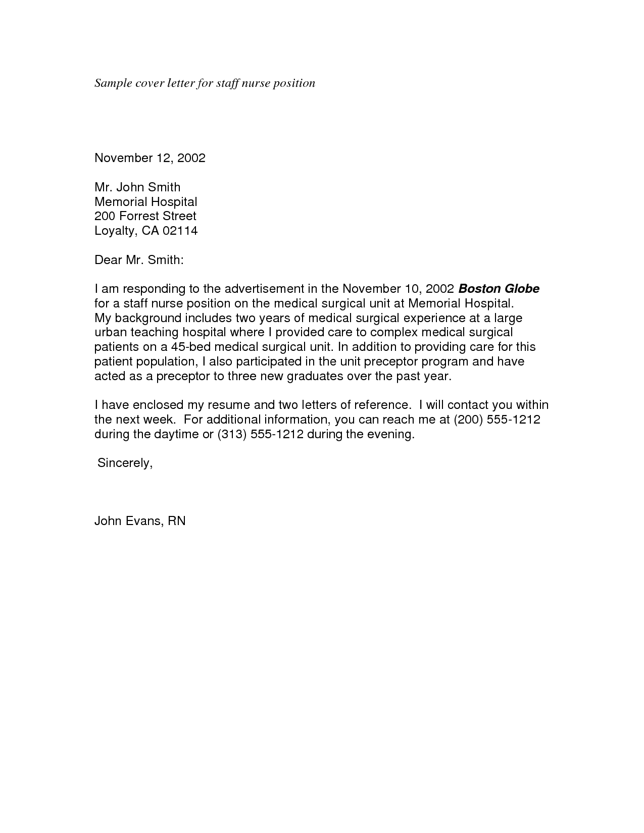 Cover Letter Template Nursing Graduate