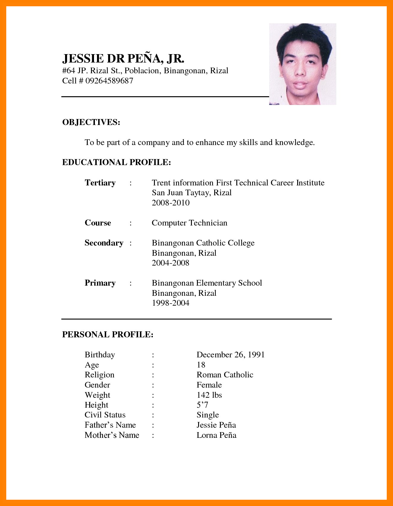 Resume Format For Job