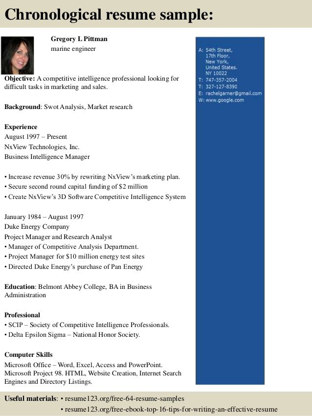 Resume Format For 4Th Engineer