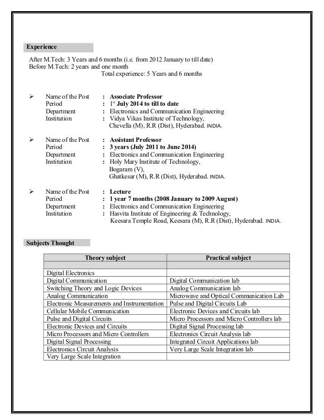 M Tech Resume Format