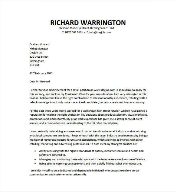 A Job Cover Letter Template