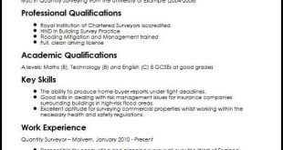 Cv Template Quantity Surveyor
